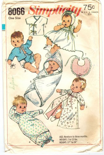 Simplicity 8066 Vintage 60 Adorable Baby Infant Newborn Layette Sewing Pattern One Size