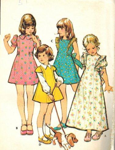 McCall's 3501 UNCUT Vintage 70s Girls Dress Pinafore Style  Princess Seams Sewing Pattern Size 6
