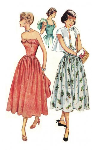 Simplicity 3124 Vintage 1950s Strapless Sun Dress Sewing Pattern with Bolero Size 12