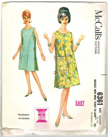 "1960s Misses Muu Muu, Beach Cover Up Vintage Sewing Pattern McCall's 6361 Bust 34"" and 36"""