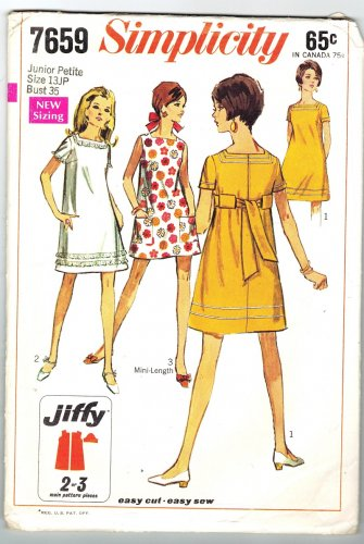 Simplicity 7659 Vintage 60s Junior Petites Mini Dress Sewing Pattern Bust 34 35