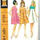 McCall's 8755 Vintage Vintage 60s Sleeveless Sundress Sewing Pattern Bust 34