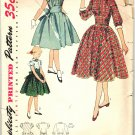 Simplicity 3645 RARE UNCUT Vintage 50s Girls Dress Detachable Collar, Cuffs Sewing Pattern Size 12