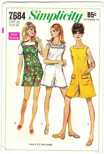 Simplicity 7684 Vintage 60s Mini Pant Dress or Pant Jumper Sewing Pattern Size 12 Bust 34