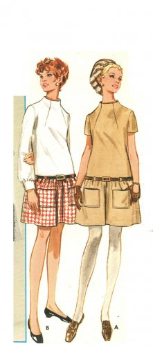 Butterick 5190 Vintage 60s Low Waisted Dress with Tunnel Standing Neckline Sewing Pattern Bust 34