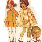 Simplicity 5480 Vintage 70s Toddler Girls Cape and Drop Waist Dress Sewing Pattern Size 3