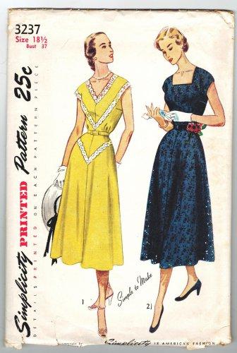 Simplicity 3237 Vintage 50s Half Size One Piece Dress 18 1/2