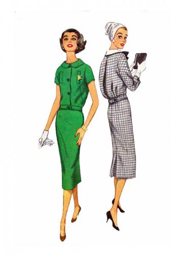 Simplicity 2410 UNCUT Vintage 50s Wiggle Middy Dress Sewing Pattern Size 14 Bust 34