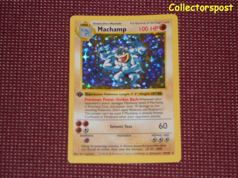 Pokemon Base Set 1st Edition Shadowless Machamp Holo