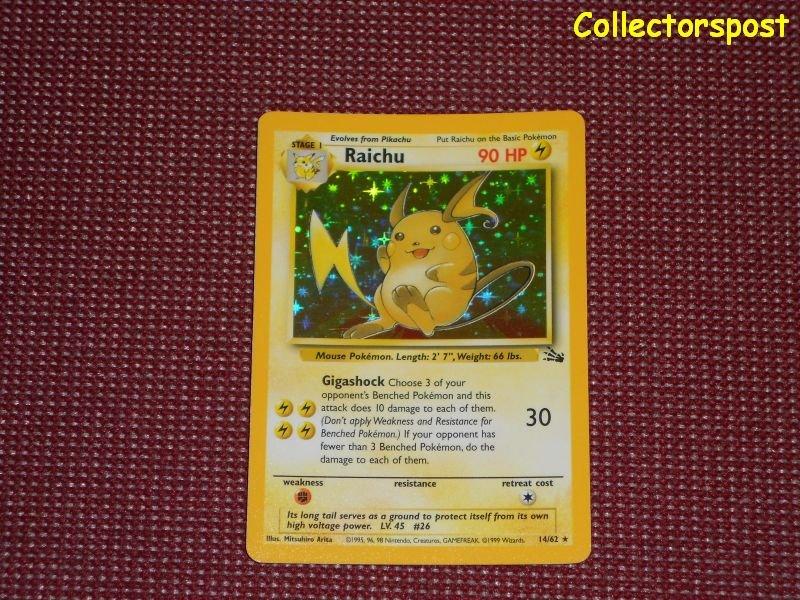 Pokemon Fossil Set Unlimited Raichu Holo