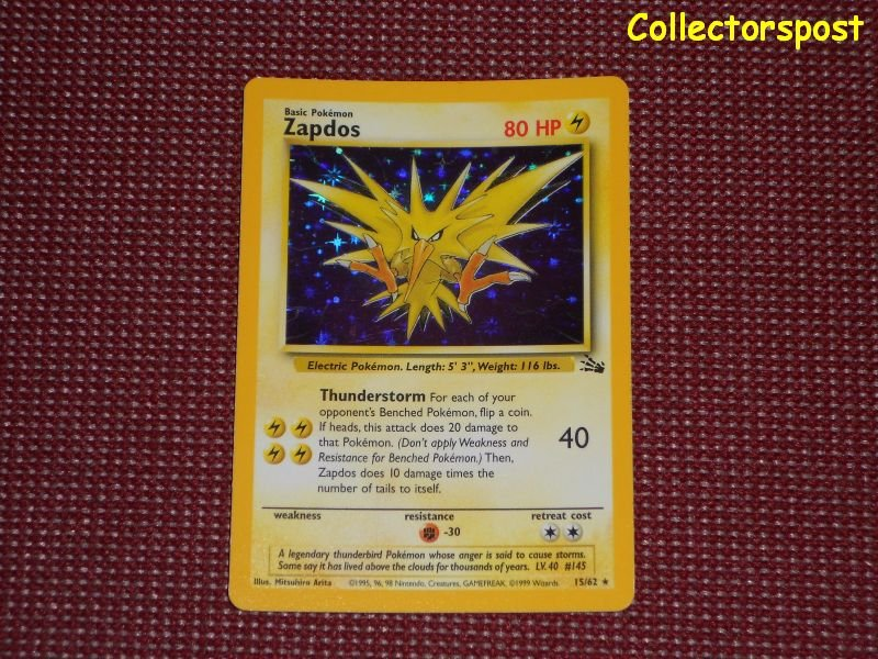 Pokemon Fossil Set Unlimited Zapdos Holo