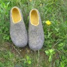 Felted house shoes / Grey Yellow Fashion / 2in1 slippers