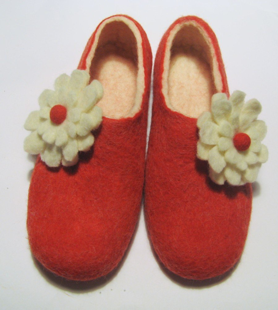 Felted shoes for her / Ladybird Pastel Red White shoes with felted wool flowers 3D