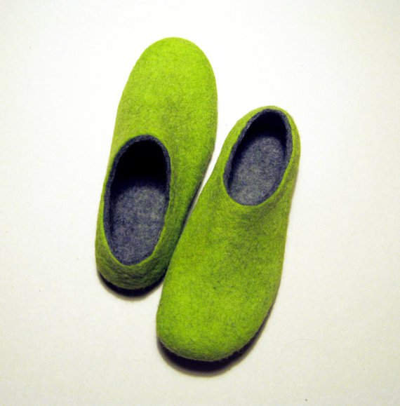 Felted High Ankle Booties Slippers. LadyBird in Green. For Her Custom made