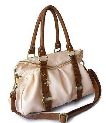Ladies Faux Leather Handbag Shoulderbag KD1106 Black / Beige / Pink