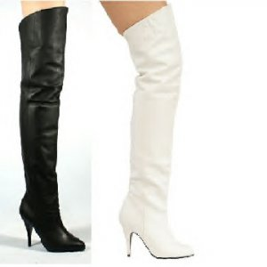 Pig Leather Thigh High Boots, Black or White, Sizes 6 - 16, Retail $160