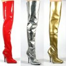Thigh High Metallic Boots, Black, White, Silver, Gold, Red. Sizes 5 - 14, Retail $140