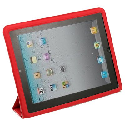 Red Leather Cover Case with Stand for Apple iPad 2