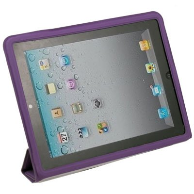 Purple Leather Case Cover Pouch Stand for  iPad 2