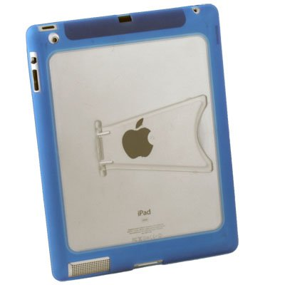 Clear TPU GEL Case with Stand for Apple IPAD 2 2nd Blue