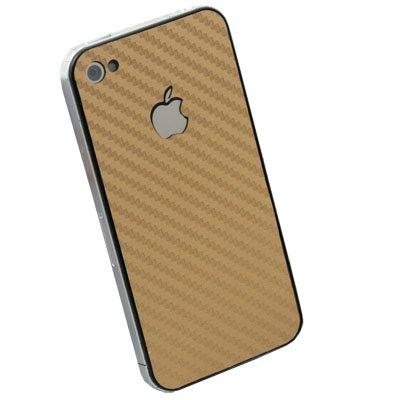 Gold Matte Carbon Fiber Sticker for Apple iPhone 4G