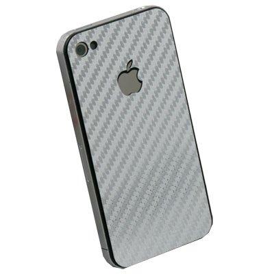 Matts Carbon Fiber Sticker For Apple iPhone 4G Silver