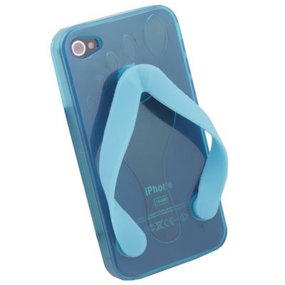 Cute Shoe Design Blue Color TPU Case For iPhone 4G
