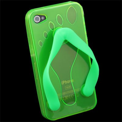 Cute Shoe Design TPU Case For iPhone 4G (Green)
