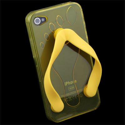 Cute Shoe Design Yellow Color TPU Case for iPhone 4G