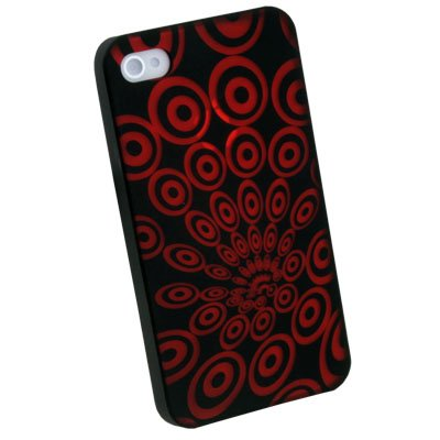 Laser Ripple Plastic Case back Cover for iPhone 4 4G 4S Red
