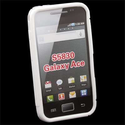 White TPU Skin Case Cover For Samsung S5830 Galaxy Ace