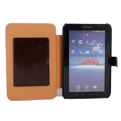 Brown Leather Case stand For Samsung Galaxy Tab P1000
