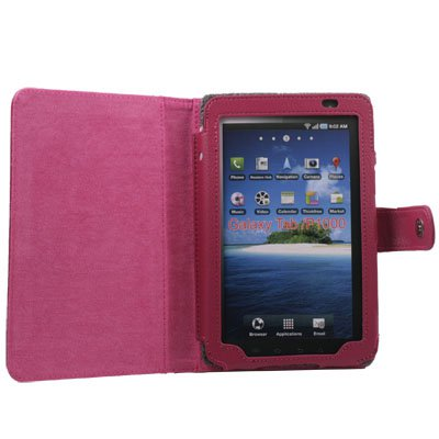 PU Leather Case for Samsung Galaxy P1000 Purplish Pink