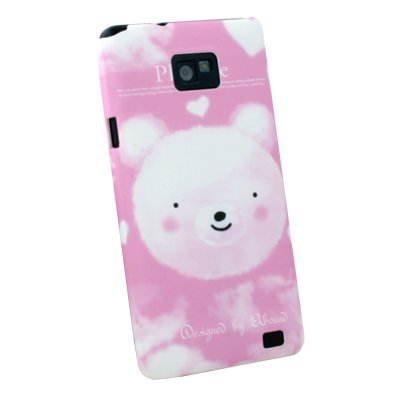 For Samsung Galaxy S2 i9100 Bear Pattern Hard Case Pink