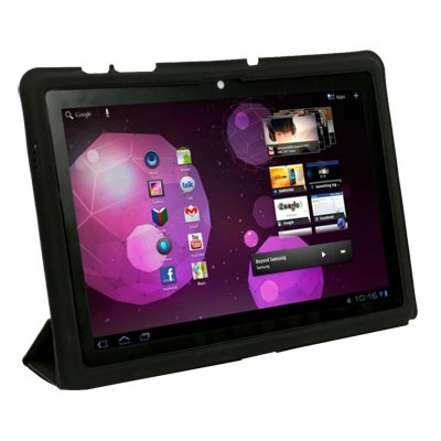 For Samsung Galaxy Tab 10.1 P7510 Black Ultra Slim Thin Smart Leather Case with Magnetic