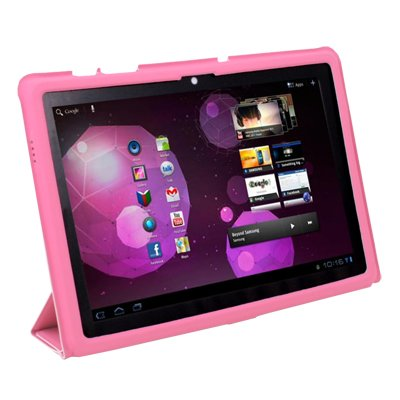 Pink Super Slim Smart Leather Case Samsung Galaxy Tab 10.1 P7510 with Magnetic