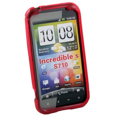 Red TPU Silicone SKin Case Cover for HTC INCREDIBLE S S710