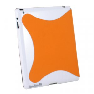 For Apple iPad 2 Leather Smart Cover With Hard Case Orange