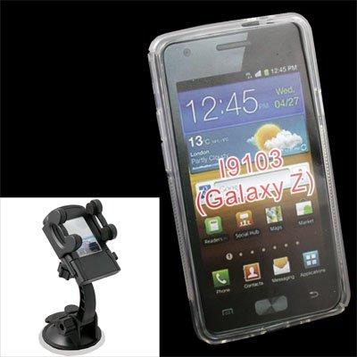For Samsung GalaxyZ i9103 TPU Skin Case Clear+Car Mount
