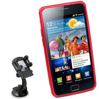 Red TPU Skin Case for Samsung GalaxyZ i9103+Car Mount