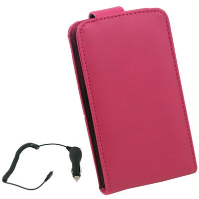 For Samsung Galaxy i9000 Flip Leather Peach+ Car Changer