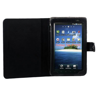 Black Leather Case Jacket for Samsung Galaxy P1000 Tab