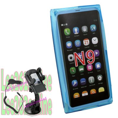 TPU Case Cover +Car Charger Mount for Nokia N9 Lankku az