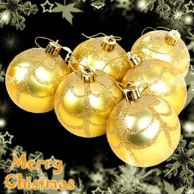 6 Shinning Big Balls Xmas Christmas Tree Decorations Ornament Net Pattern Gold