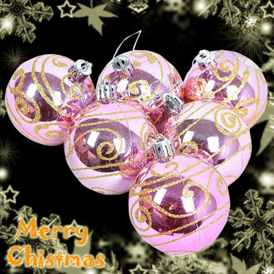 6 Pcs Pink XMAS Christmas Tree Baubles Glittery With Gold Design