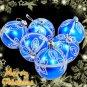 6 Blue XMAS Christmas Tree Baubles Glittery Silver Design Star Pattern