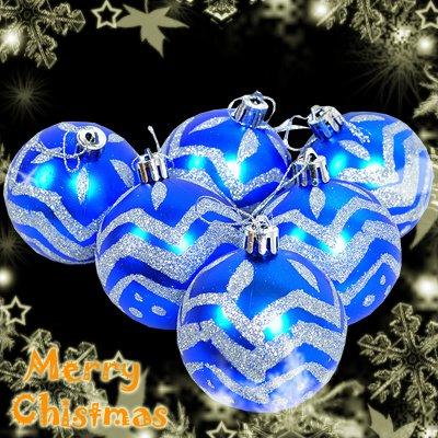 6 Pcs Blue XMAS Christmas Tree Baubles Glittery Silver Design
