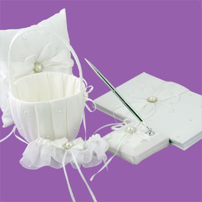 Pearl & Ribbon Set bridal Guest Book Ring Pillow Garter