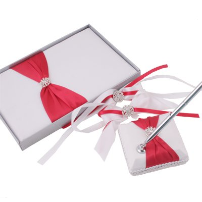 White With Red Satin Flower Ribbon Guest Book & Pen Set