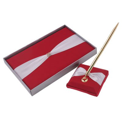 Diamond Red with White Bow Wedding Guestbook & Pen Set